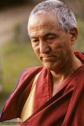 (10042_sl.JPG) GesheThinley, brother of Lama Yeshe. Cremation of Lama Yeshe at Vajrapani Institute, California in March of 1984. Photo by Ricardo de Aratanha.