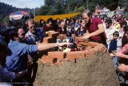 (10049_sl.JPG) Cremation of Lama Yeshe at Vajrapani Institute, California in March of 1984. Photo includes John Jackson and Chuck Thomas.  Photo by Ricardo de Aratanha.