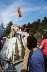 (10062_sl-3.JPG) Painting the cremation stupa of Lama Yeshe, Vajrapani Institute, California, 1984. Ricardo de Aratanha (photographer)