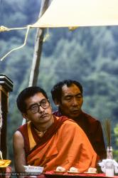 (10074_sl.JPG) Lama Zopa Rinpoche and Geshe Gyeltsen at the cremation of Lama Yeshe at Vajrapani Institute, California in March of 1984. Photo by Ricardo de Aratanha.