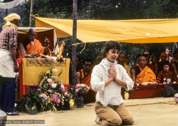 (10083_sl-3.JPG) An attendee is chosen to light the fire, cremation of Lama Yeshe, Vajrapani Institute, California, 1984. Ricardo de Aratanha (photographer)