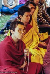 (10115_sl.JPG) Cremation of Lama Yeshe at Vajrapani Institute, California in March of 1984. Photo includes Robina Courtin, Yeshe Khadro (Marie Obst), and Anila Ann. Photo by Ricardo de Aratanha.