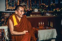 (10173_sl.JPG) Geshe Sopa during a cycle of pujas that were done for Lama Yeshe before the formal cremation, Vajrapani Institute, California, 1984. Photo by Ricardo de Aratanha.