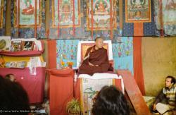 (10236_ng.JPG) Lama Yeshe giving final teaching at Kopan Monastery, Nepal, 1983. Photo by Wendy Finster.