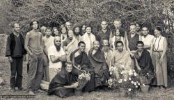 (10259_ng-Edit.psd) Group photo from the first meditation course held at Kopan Monastery, April, 1971. Left to right, front row: Zina Rachevsky, Lama Zopa Rinpoche, Geshe Thubten Tashi, Age Delbanco (Babaji), Lama Yeshe, Gen Wangyal. Fred Von Allmen is at far left, Claudio Cipullo second from the end on the right, and Mark Shaneman is standing directly behind Babaji. Photo provided by Fred von Allmen.