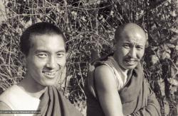 (10261_ng-2.psd) Portrait of Lama Zopa Rinpoche and Geshe Thubten Tashi taken at Kopan Monastery at the end of the first meditation course, Nepal, 1971. Photo by Fred von Allmen.