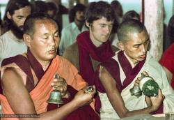 (15917_ng.psd) Lama Yeshe and Lama Zopa Rinpoche doing puja, 1975. From the collection of images of Lama Yeshe, Lama Zopa Rinpoche and the Sangha during a month-long course at Chenrezig Institute, Australia.
