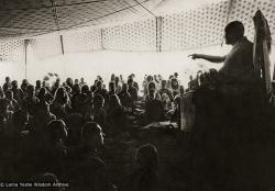 (10456_pr-2.psd) Lama Yeshe teaching in the tent, Kopan Monastery, Nepal, 1974. For the Seventh Meditation Course a huge Indian wedding tent replaced the dusty burlap-walled tent.