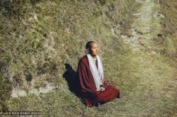 (10507_sl-6.psd) Lama Yeshe meditating, Kopan Monastery, 1971. Dan Howlett (photographer)