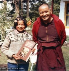 "(10527_ud-3.psd) Lama Yeshe with Jhamba Dolkar (Lama's ""daughter"" at TCV), Tushita Retreat Centre, Dharamsala, India, 1982."