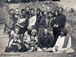 (11006_ud-3.psd) Kopan Group photo from 1970. Tsultrim Allione is second from left in the back row near Lama Zopa. Piero Cerri is in the back row to the right of Lama, looking over his shoulder. At the far right in that row is Madhu. Zina Rachevsky is seated in the front row on the left, holding Rhea. At far right in that row is Zina's friend, Michel Cerveau, and to his left is Mario Maglietti. (Photo used with permission of the estate of Zina Rachevsky.)