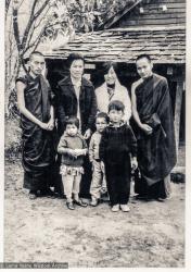 (11695_ud-3.psd) Pema Gyalpo, sister of H.H. Dalai Lama who ran TCV (next to Rinpoche), Jhamba (in front of her), Tibetan Children's Village, Dharamsala, India, 1973.