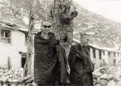 (12028_pr-3.psd) Lama Yeshe (left) and Lama Zopa Rinpoche at Thangme. Photo from the first trek to Lawudo Retreat Center in Nepal, spring of 1969. Lawudo was the hermitage of the Lawudo Lama, the former incarnation of Lama Zopa Rinpoche. Photos by George Luneau.
