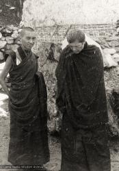(12030_pr2.jpg) Lama Zopa Rinpoche (left) and Zina Rachevsky at Thangme. Photo from the first trek to Lawudo Retreat Center in Nepal, spring of 1969. Lawudo was the hermitage of the Lawudo Lama, the former incarnation of Lama Zopa Rinpoche. Photos by George Luneau. (Photo used with permission of the estate of Zina Rachevsky.)