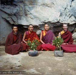 (12031_pr-3.psd) At the Lawudo Lama's cave, Nepal, 1972. From the left to right: unknown monk, Lama Zopa, Lama Yeshe, Jhampa Zangpo (Mark Shaneman).