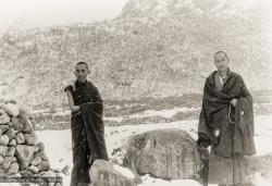 (12035_pr-3.psd) Lama Zopa Rinpoche (left) and Lama Yeshe at Thangme. Photo from the first trek to Lawudo Retreat Center in Nepal, spring of 1969. Lawudo was the hermitage of the Lawudo Lama, the former incarnation of Lama Zopa Rinpoche. Photos by George Luneau.
