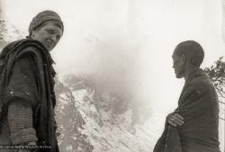 (12495_pr-2.psd) Lama Zopa Rinpoche (right) and Zina Rachevsky at Thangme. Photo from the first trek to Lawudo Retreat Center in Nepal, spring of 1969. Lawudo was the hermitage of the Lawudo Lama, the former incarnation of Lama Zopa Rinpoche. Photos by George Luneau. (Photo used with permission of the estate of Zina Rachevsky.)