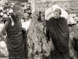 (12498_pr-2.psd) Lama Zopa Rinpoche (left) and Zina Rachevsky. Photo from the first trek to Lawudo Retreat Center in Nepal, spring of 1969. Lawudo was the hermitage of the Lawudo Lama, the former incarnation of Lama Zopa Rinpoche. Photos by George Luneau. (Photo used with permission of the estate of Zina Rachevsky.)