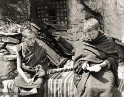 (12501_pr-2.psd) Lama Zopa Rinpoche (left) and Zina Rachevsky outside the cave of the Lawudo Lama. Photo from the first trek to Lawudo Retreat Center in Nepal, spring of 1969. Lawudo was the hermitage of the Lawudo Lama, the former incarnation of Lama Zopa Rinpoche. Photos by George Luneau. (Photo used with permission of the estate of Zina Rachevsky.)