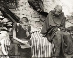 (12502_pr-2.psd) Lama Zopa Rinpoche (left) and Zina Rachevsky. Photo from the first trek to Lawudo Retreat Center in Nepal, spring of 1969. Lawudo was the hermitage of the Lawudo Lama, the former incarnation of Lama Zopa Rinpoche. Photos by George Luneau. (Photo used with permission of the estate of Zina Rachevsky.)