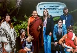 (12544_pr-3.psd) From the right: Shasta Wallace in poncho, unknown person with child, Lama Yeshe, Judy Weitzner, Louis Gross in blue jacket (Sharon Gross' husband), Doren Harper in dark blue jacket far right, unknown person with child, Disneyland, CA, 1977. Judy Weitzner (donor)