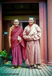 (12566_pr-2.psd) Lama Yeshe meeting Tarthang Tulku in Berkeley, California, 1974. Photo donated by Judy Weitzner.