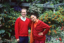 (12733_sl-3.psd) Jon Landaw and Lama Yeshe at Bloedel Floral Conservatory in Queen Elizabeth Park, Vancouver, BC, Canada, 1978. Pam Cowan (donor)