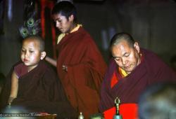 (12735_sl-2.psd) Yangsi Rinpoche and Lama Yeshe doing puja, Kopan Monastery, Nepal, 1976. Photo by Jon Landaw.