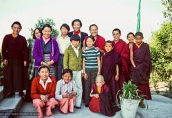 (12742_sl-2.psd) Group portrait with Jampa Trinley and family, 1976. Photo includes Lama Yeshe, Lama Zopa Rinpoche, Thubten Wongmo (Feather Meston), Daja Meston (Thubten Wangchuk), Jampa Trinley, and his wife Ngawang Trinley. Kopan Monastery, Nepal, 1976. Photo by Jon Landaw.