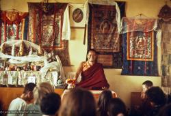 (12810_sl-Edit.psd) Lama Yeshe teaching, Fourth Meditation Course, Kopan Monastery, Nepal, 1973. Photo by Lynda Millspaugh.