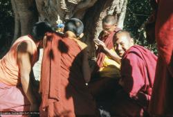 (12925_sl.tif) Lama Yeshe painting Tara, Kopan Monastery, Nepal, 1976. Lama Yeshe sent Max Mathews to buy a large Tara statue in Kathmandu, which was eventually placed in a glass-fronted house on a pedestal overlooking a triangular pond that was built under the ancient bodhi tree in front of the gompa, Kopan Monastery, Nepal. Photo by Peter Iseli.