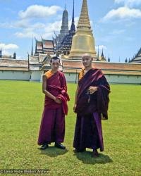 A photo from the travels of Lama Zopa Rinpoche and Lama Yeshe in Bangkok at the Jade Buddha Temple, Thailand, 1974.