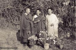 (13205_ud-2.psd) Portrait photo of Geshe Thubten Tashi, Lama Zopa Rinpoche and Lama Yeshe taken at Kopan Monastery at the end of the first meditation course, Nepal, 1971. Photo by Fred von Allmen.