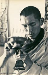(13301_pr-2.psd) Lama Zopa Rinpoche doing puja (spiritual practice) during the Fourth Meditation Course, Kopan Monastery, Nepal, 1973. Photo by Brian Beresford.