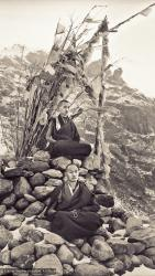 (13896_ud.psd) Lama Zopa Rinpoche (top) and Lama Yeshe meditating. Photo from the first trek to Lawudo Retreat Center in Nepal, spring of 1969. Lawudo was the hermitage of the Lawudo Lama, the former incarnation of Lama Zopa Rinpoche. Photos by George Luneau.
