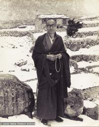(15045_pr.jpg) Lama Yeshe at Thangme. Photo from the first trek to Lawudo Retreat Center in Nepal, spring of 1969. Lawudo was the hermitage of the Lawudo Lama, the former incarnation of Lama Zopa Rinpoche. Photos by George Luneau.