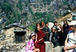 (15047_sl-1.psd) Max Mathews (left) and Lama Zopa Rinpoche. Photo from the first trek to Lawudo Retreat Center in Nepal, spring of 1969. Lawudo was the hermitage of the Lawudo Lama, the former incarnation of Lama Zopa Rinpoche.