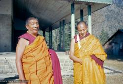 (15067_sl-4.psd) Geshe Rabten and Lama Yeshe after the first ordination of a group of western students, Dharmasala, India, 1970. The smudge on Lama's forehead is from prostrating to his teacher, Geshe Rabten.