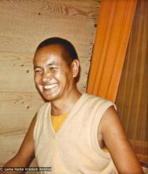 (15069_pr-1.psd) Lama Yeshe with students in an A-frame cabin at Tushita Meditation Center, Dharamsala, India, 1970.