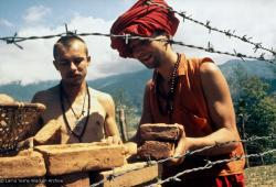 (15084_pr.psd) The first bricks to build Kopan Monastery, 1971 (The Monk on the right is named Dennis, the student to the left is Benni Last.)