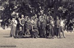 (15089_ng.psd) Second Kopan Meditation Course, spring of 1972. Included in the photo from the left are Ann McNeil (Anila Ann), Mark Shaneman (Jhampa Zangpo), Steve Malasky, Gen Wangyal, Age Delbanco (Babaji), Peter Kedge, Geshe Thubten Tashi (seated), Losang Nyima.
