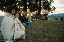 (15091_ng.tif) Dharma students meditating on Kopan Hill, Nepal, 1971.