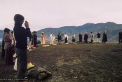 (15092_pr.tif) Dharma students meditating on Kopan Hill, Nepal, 1971.