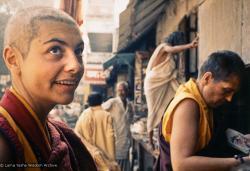 (15093_pr.jpg) Sylvia White and Zina Rachevsky in Bodhgaya, India, 1971, to attend His Holiness Dalai Lama's annual January teachings