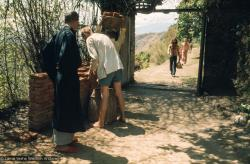 (15094_sl.tif) Construction at Kopan Monastery, Nepal, 1971, with students hauling bricks by the front gate to the Monastery. Zengo is to the left.
