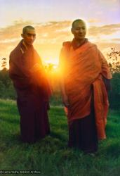 (15124_pr.psd) Lama Zopa Rinpoche and Lama Yeshe, Chenrezig Institute, Australia, 1975. Photo by Nick Ribush, restoration by David Zinn.