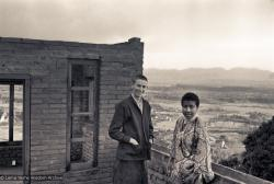 (15142_ng.psd) Anila Ann and Max Mathews, two early students of the Lamas, on the roof of Kopan as the second floor is in progress, 1972.