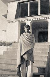 (15145_ng.psd) Peter Kedge, an early student of the Lamas, on the front steps of Kopan, 1972. Peter would later ordain and become a very active member of the Lamas' growing Sangha.
