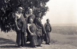 (15147_ng.psd) Second Kopan Meditation Course, spring of 1972. Included in the photo from the left are Losang Nyima, Geshe Thubten Tashi (seated), Mark Shaneman (Jhampa Zangpo), Gen Wangyal.