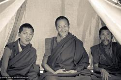 (15151_ng.psd) Lama Zopa Rinpoche and Lama Yeshe with an unidentified monk in a tent at the Lawudo Retreat Centre, 1972